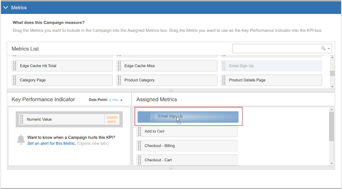 Assigning Metrics to an AB Campaign II