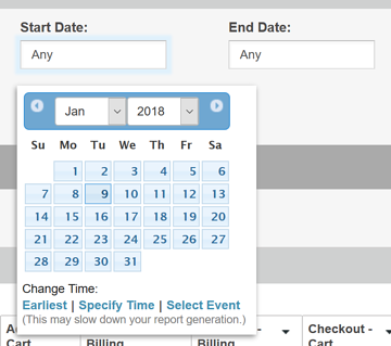 Choosing a Date Range for Reports