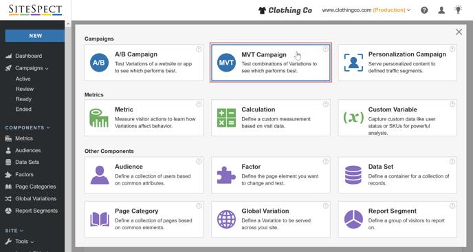 Creating a Multivariate Campaign - SiteSpect Menu