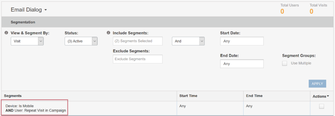 Creating an Audience from a Segment - Email Dialog