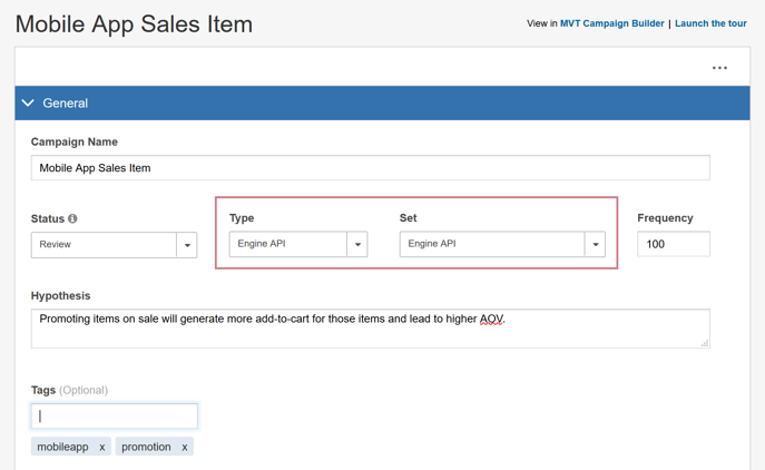 Creating an Engine API Campaign - Mobile App Sales Item