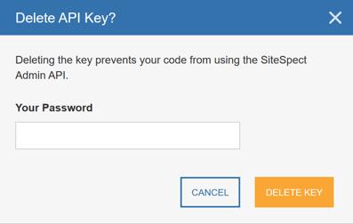Generating an API Key - Delete API Key