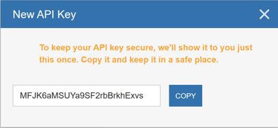 Generating an API Key - New API Key