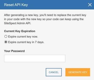 Generating an API Key - Reset API Key