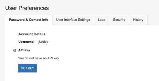Generating an API Key - User Preferences