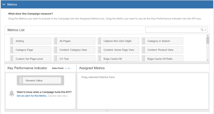 How do I build a Campaign with the Visual Editor - Assign Metrics