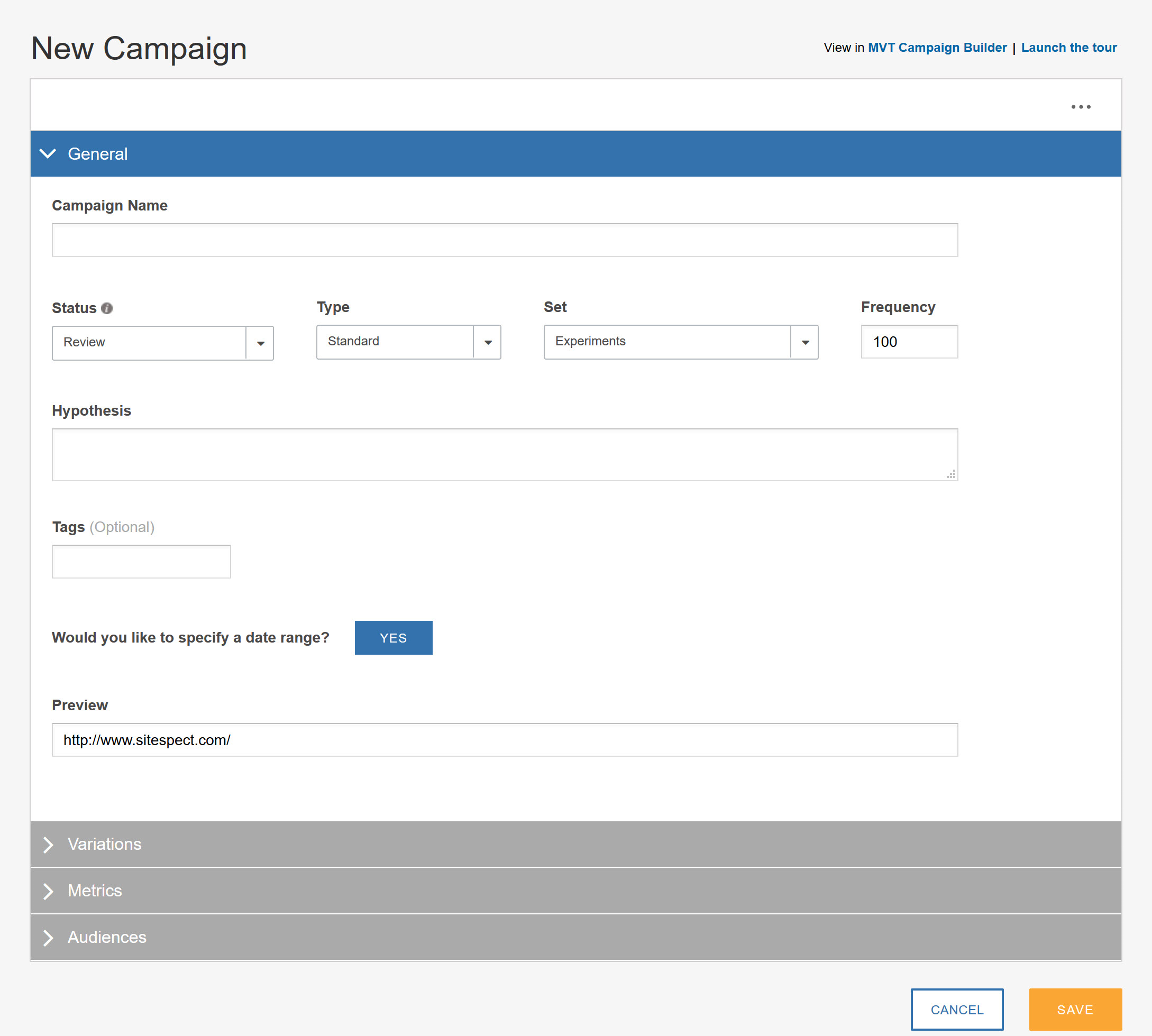 How do I build a Campaign with the Visual Editor - New Campaign