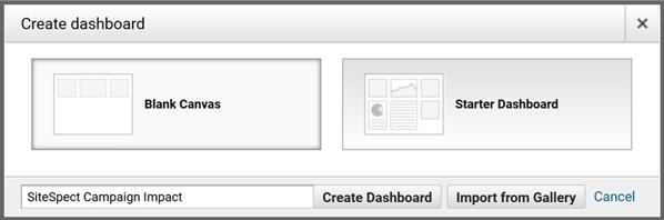 Integrating SiteSpect and Google Analytics - Create Dashboard