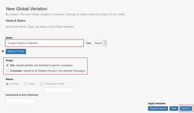 Integrating SiteSpect and Google Analytics - New Global Variation
