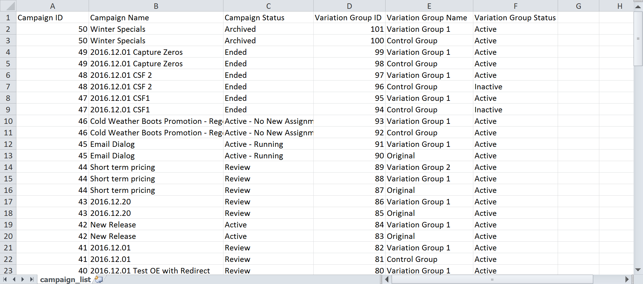 Listing Campaign and Variation Group IDs - CSV File