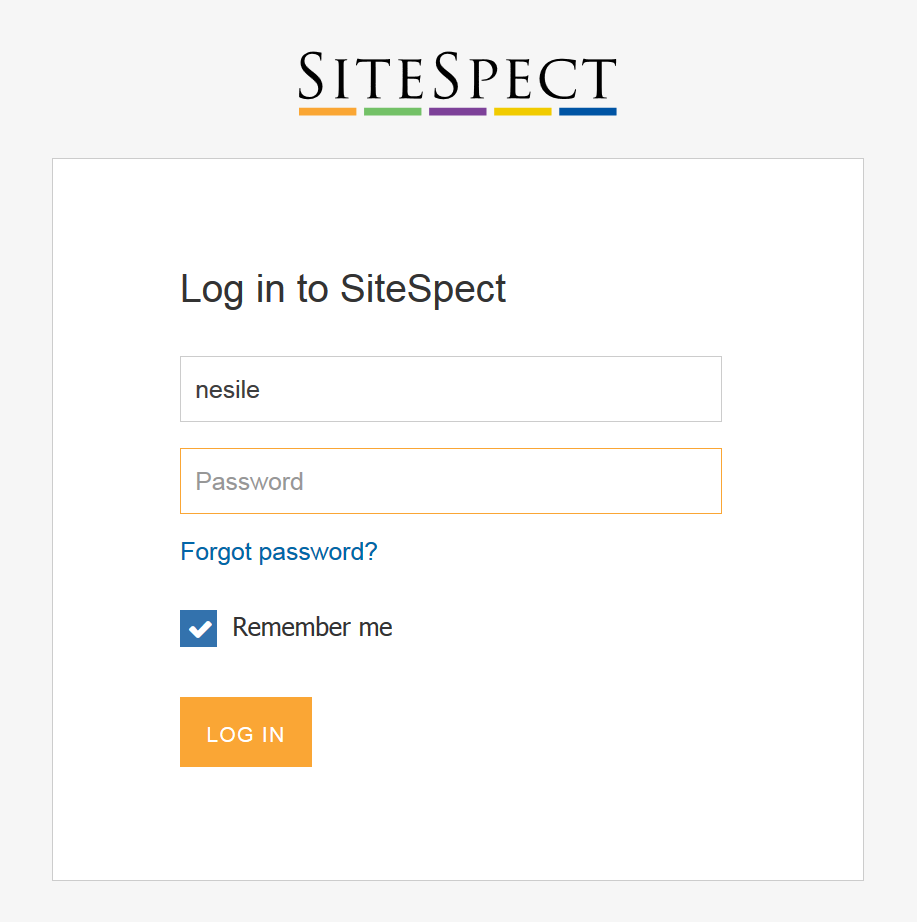 Logging in to SiteSpect - Log In