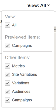 Previewing Campaign Components - Filter the View