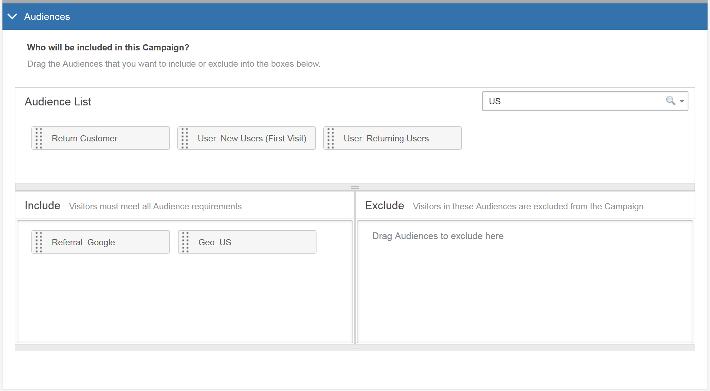 Selecting Audiences in the AB Campaign Builder - Audience Example III