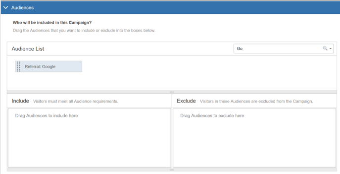 Selecting Audiences in the AB Campaign Builder - Audience Example