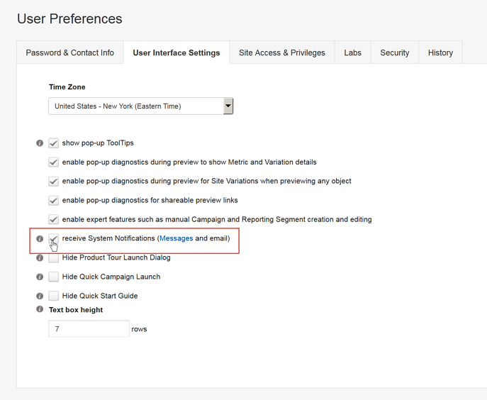 Setting System Notifications - User Preferences