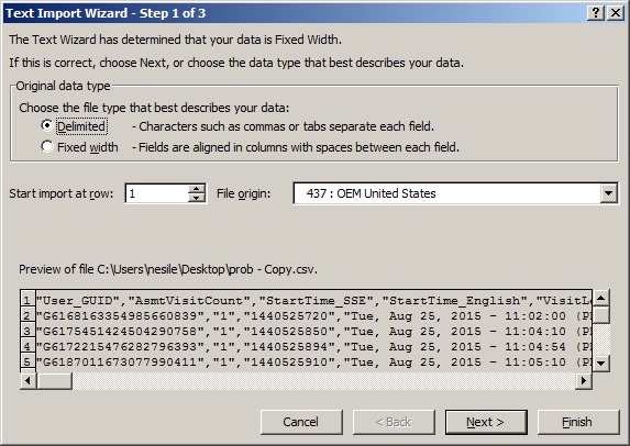 Using Excel with SiteSpects Data Export - Text Import Wizard Step 1 of 3