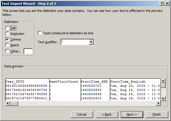 Using Excel with SiteSpects Data Export - Text Import Wizard Step 2 of 3