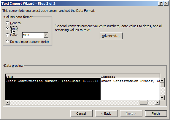 Using Excel with SiteSpects Data Export - Text Import Wizard Step 3 of 3