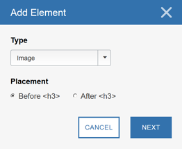 Using the Visual Editor - Adding a Page Element